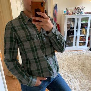 Madewell Green Half Zip Plaid Flannel Shirt